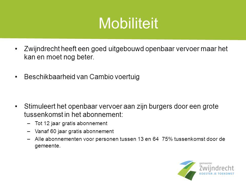 Mobiliteit Zwijndrecht heeft een goed uitgebouwd openbaar vervoer maar het kan en moet nog beter. Beschikbaarheid van Cambio voertuig.