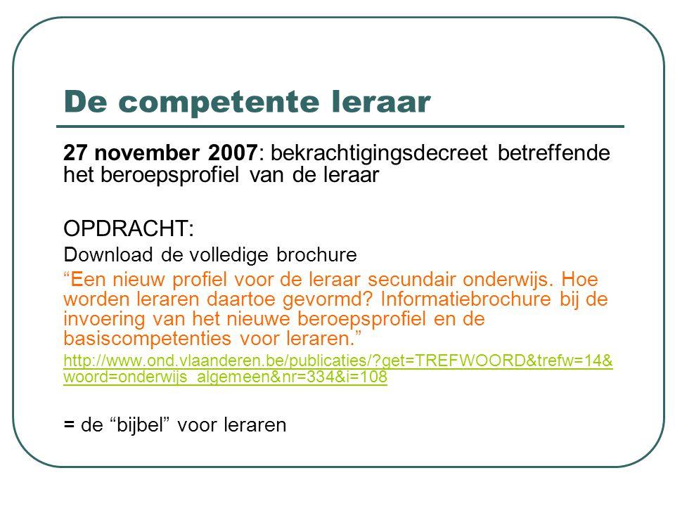 De competente leraar 27 november 2007: bekrachtigingsdecreet betreffende het beroepsprofiel van de leraar.