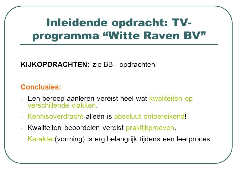 Inleidende opdracht: TV-programma Witte Raven BV