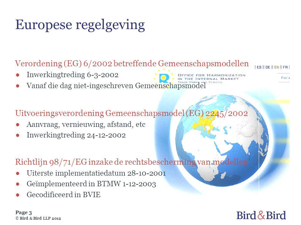 Europese regelgeving Verordening (EG) 6/2002 betreffende Gemeenschapsmodellen. Inwerkingtreding 6-3-2002.