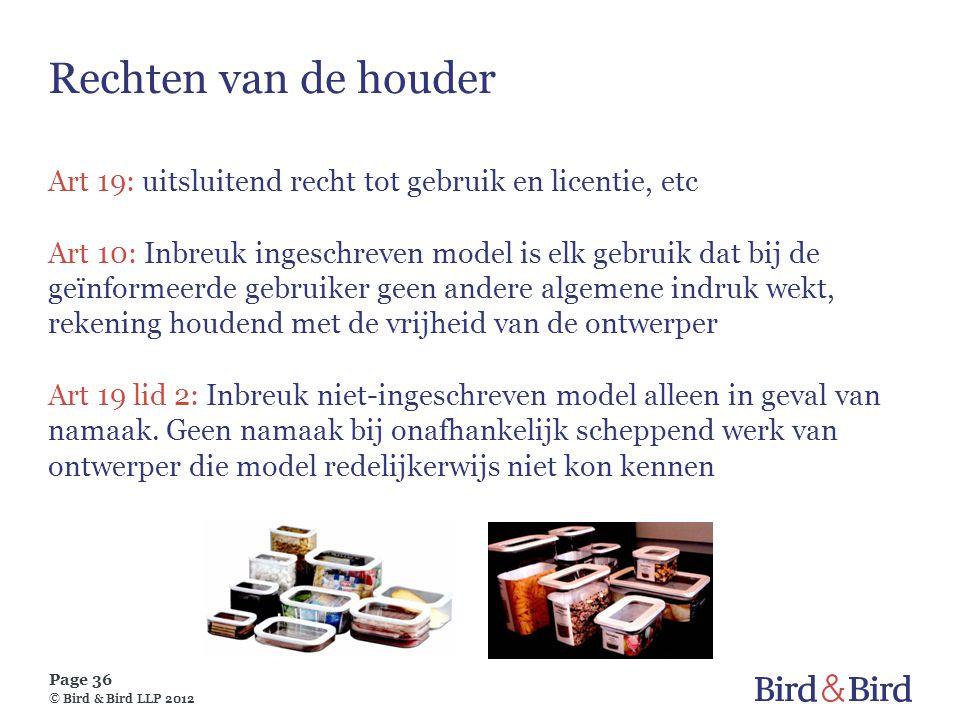 Rechten van de houder Art 19: uitsluitend recht tot gebruik en licentie, etc.