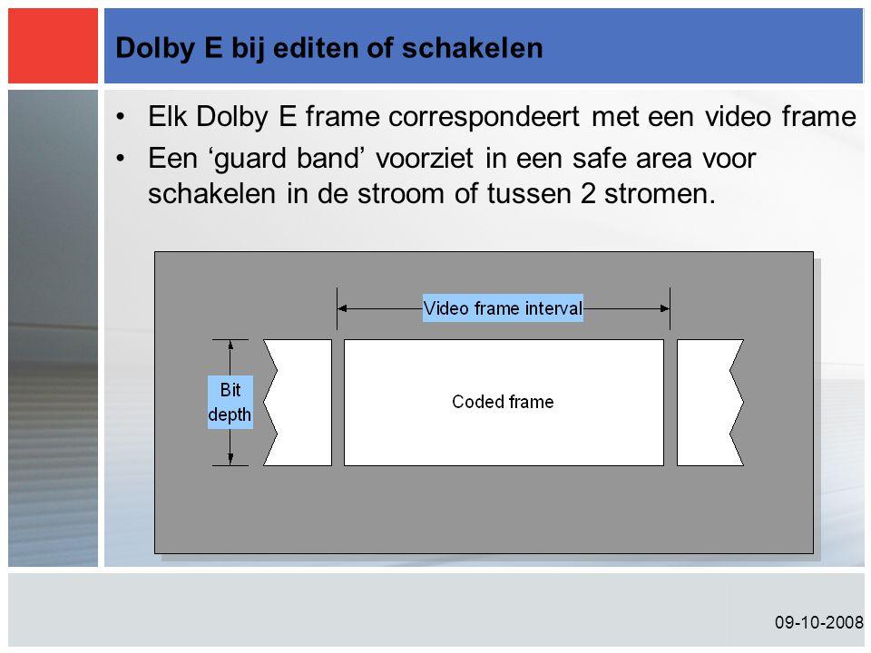 Dolby E bij editen of schakelen