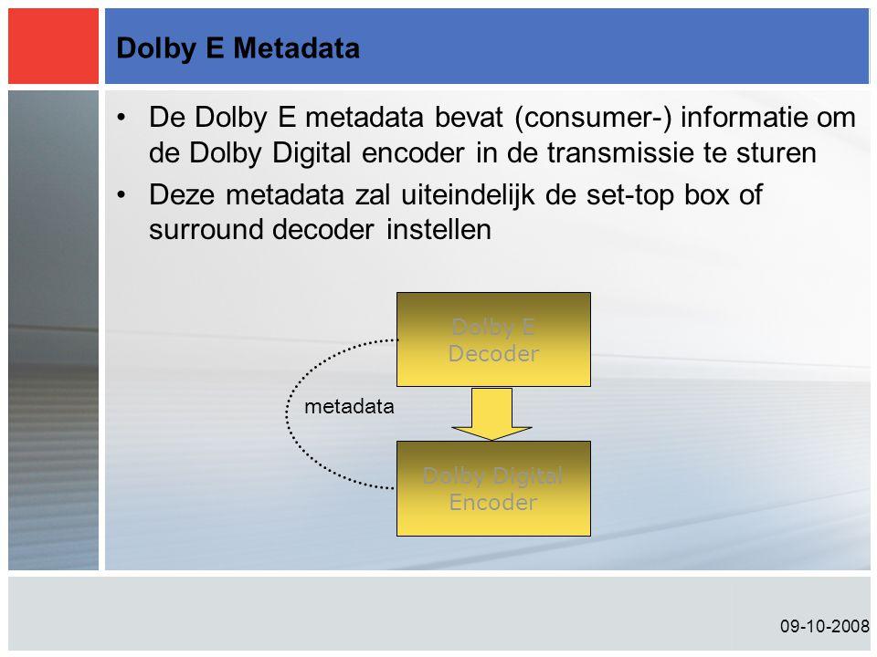 Dolby E Metadata De Dolby E metadata bevat (consumer-) informatie om de Dolby Digital encoder in de transmissie te sturen.