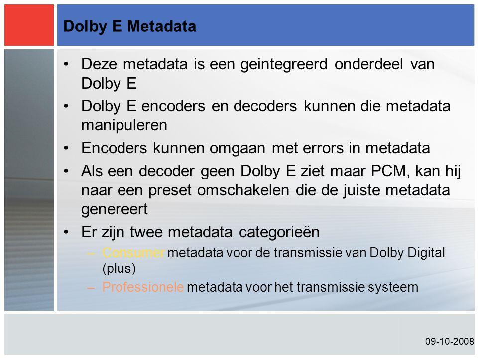 Deze metadata is een geintegreerd onderdeel van Dolby E