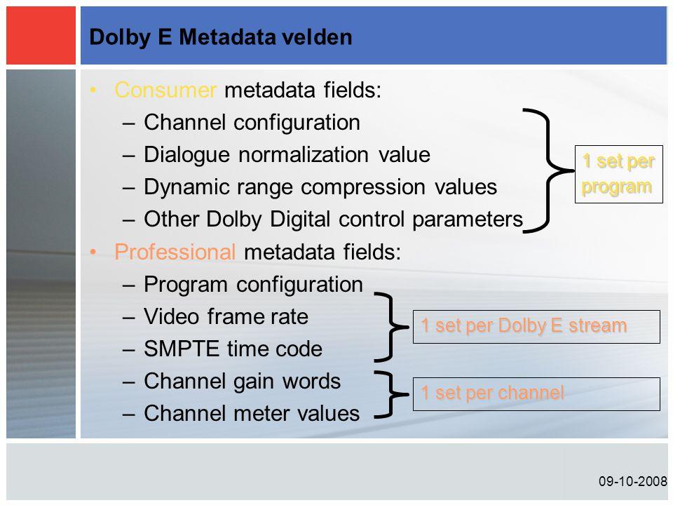 Dolby E Metadata velden