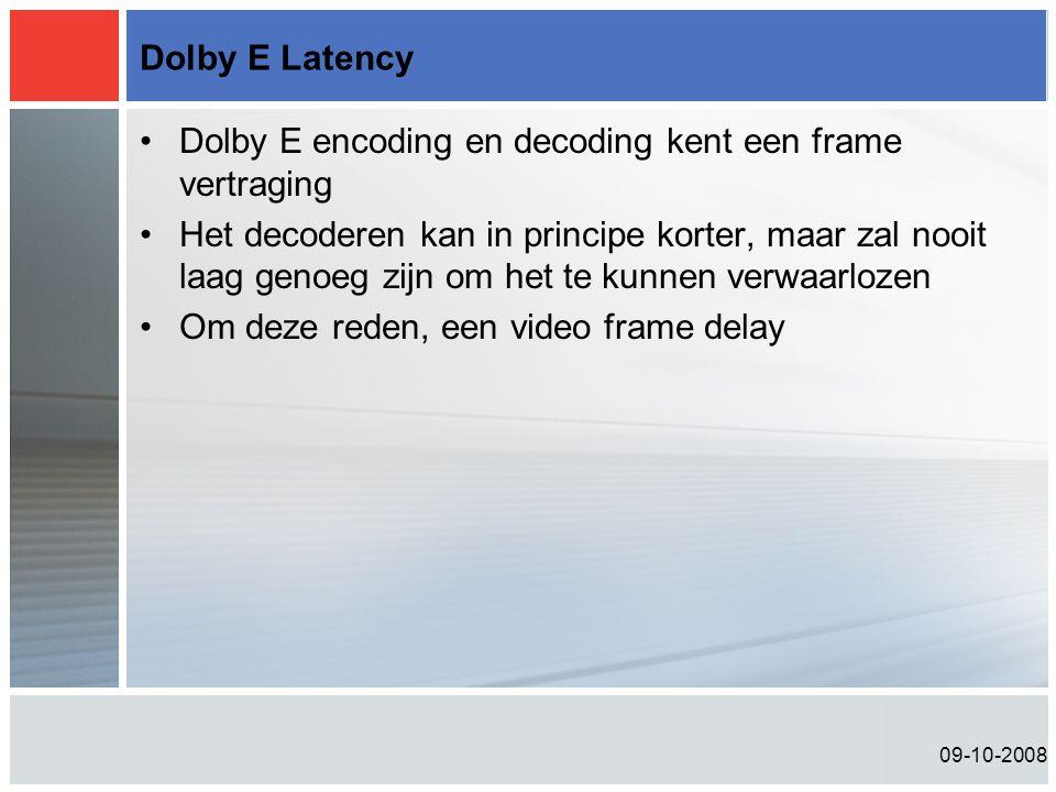 Dolby E encoding en decoding kent een frame vertraging