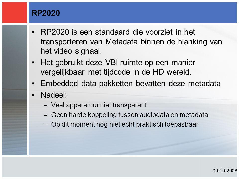 Embedded data pakketten bevatten deze metadata Nadeel: