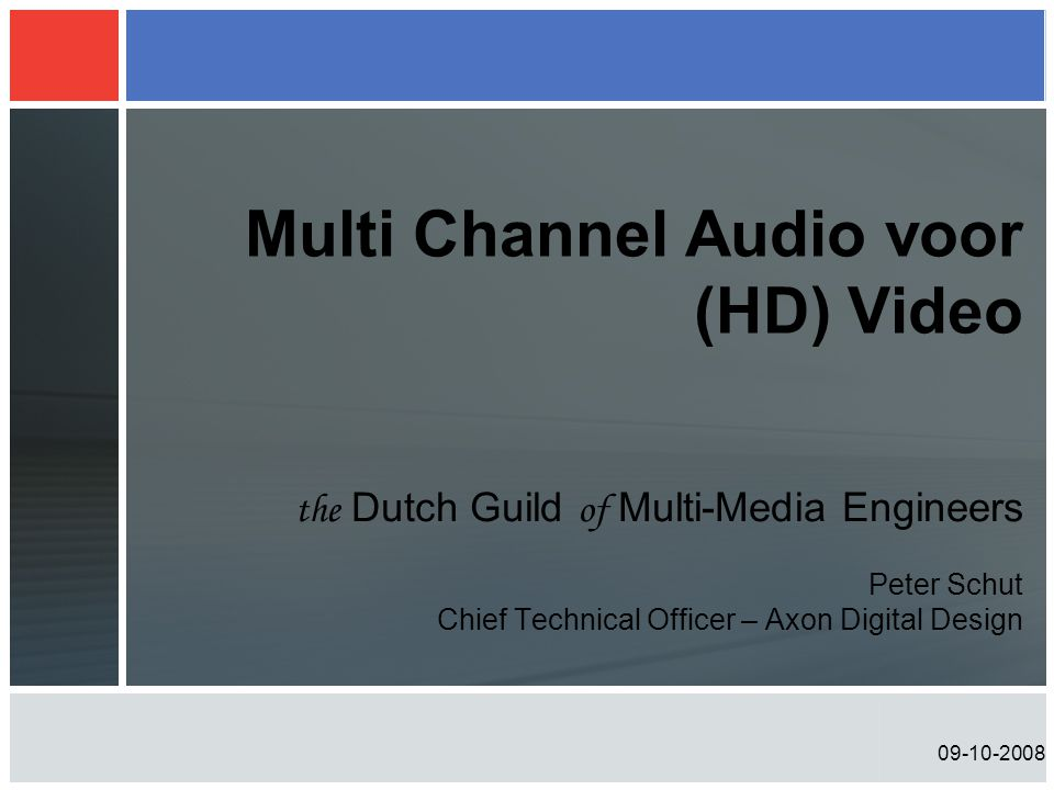 Multi Channel Audio voor (HD) Video