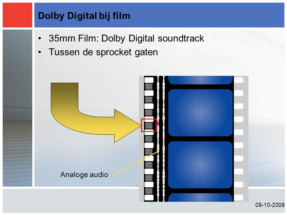 Analoge audio Dolby Digital bij film