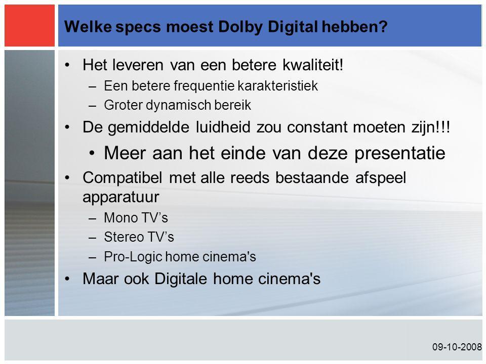 Welke specs moest Dolby Digital hebben
