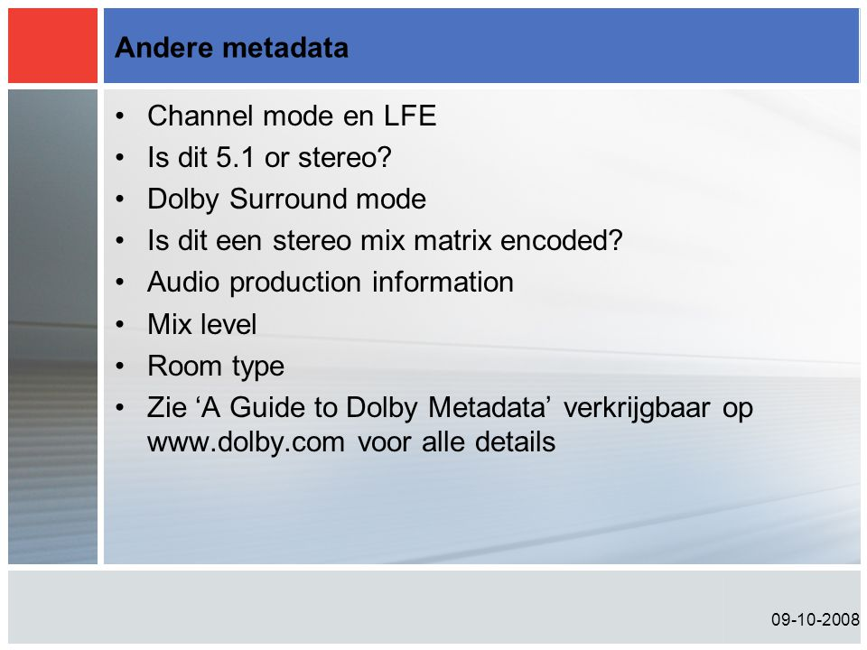 Is dit een stereo mix matrix encoded Audio production information