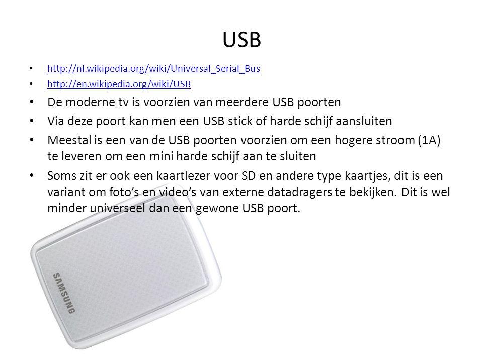 USB De moderne tv is voorzien van meerdere USB poorten