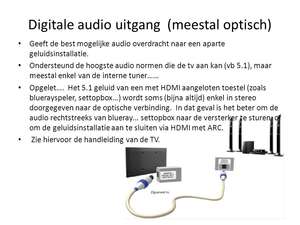 Digitale audio uitgang (meestal optisch)