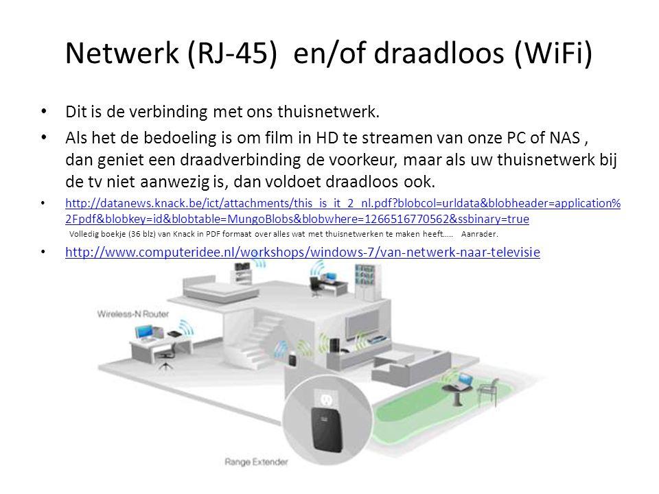 Netwerk (RJ-45) en/of draadloos (WiFi)