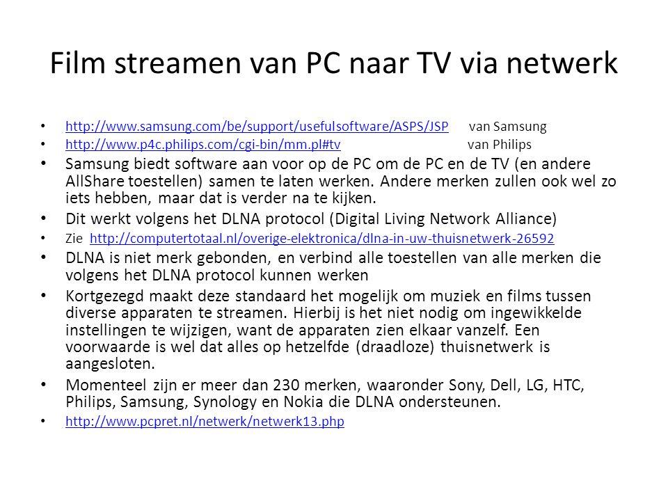 Film streamen van PC naar TV via netwerk