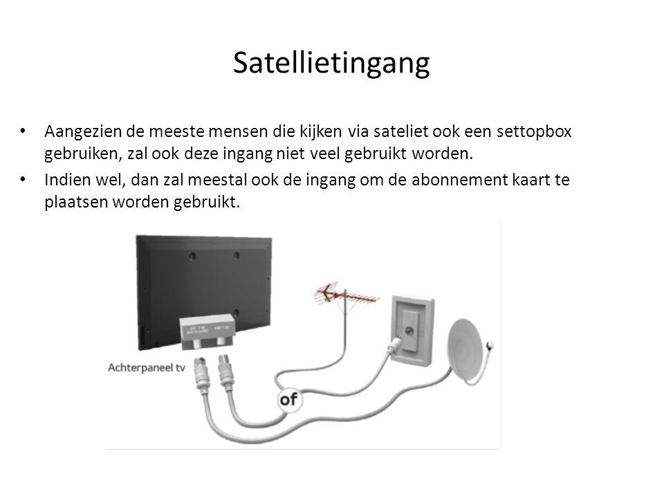 Satellietingang Aangezien de meeste mensen die kijken via sateliet ook een settopbox gebruiken, zal ook deze ingang niet veel gebruikt worden.
