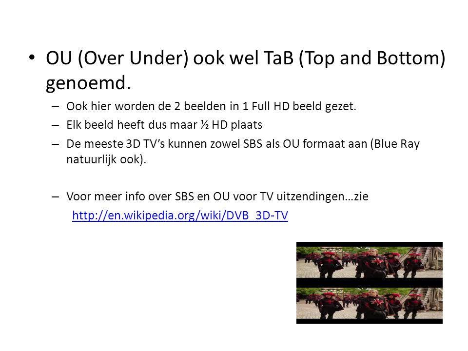OU (Over Under) ook wel TaB (Top and Bottom) genoemd.