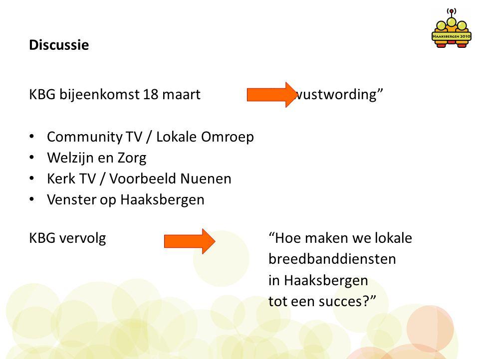 Discussie KBG bijeenkomst 18 maart Bewustwording Community TV / Lokale Omroep. Welzijn en Zorg.