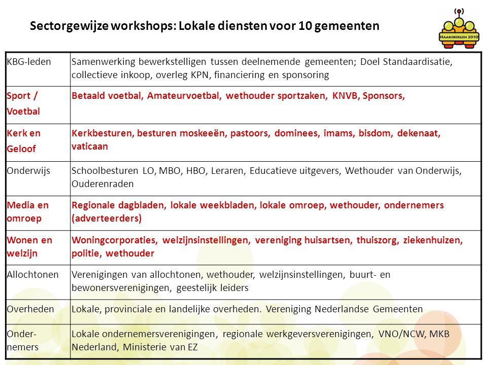 Sectorgewijze workshops: Lokale diensten voor 10 gemeenten