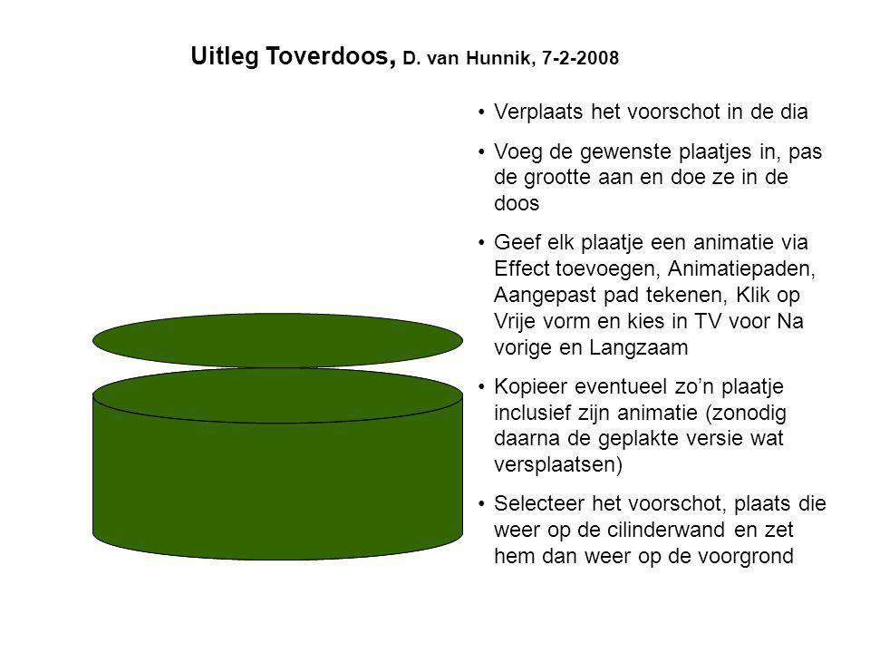 Uitleg Toverdoos, D. van Hunnik, 7-2-2008
