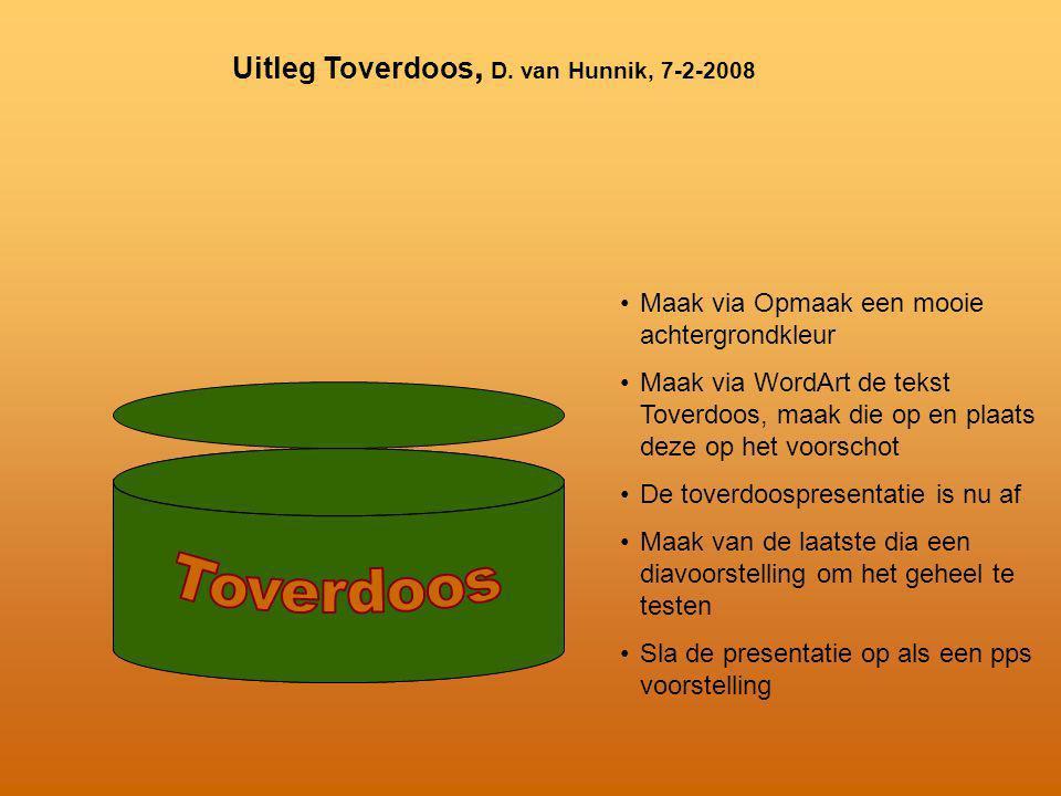 Toverdoos Uitleg Toverdoos, D. van Hunnik, 7-2-2008
