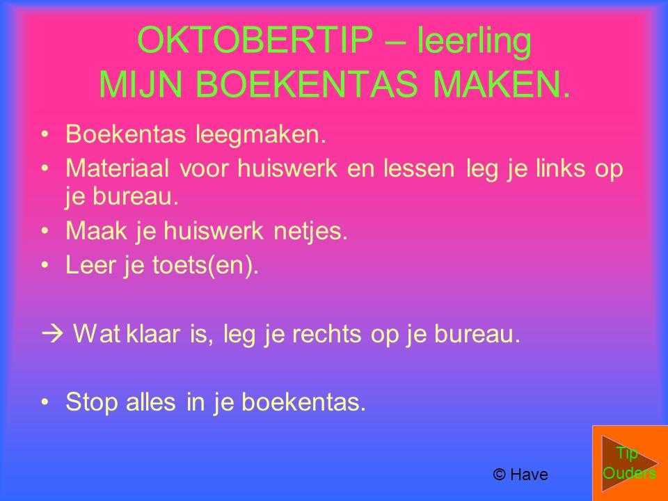 OKTOBERTIP – leerling MIJN BOEKENTAS MAKEN.
