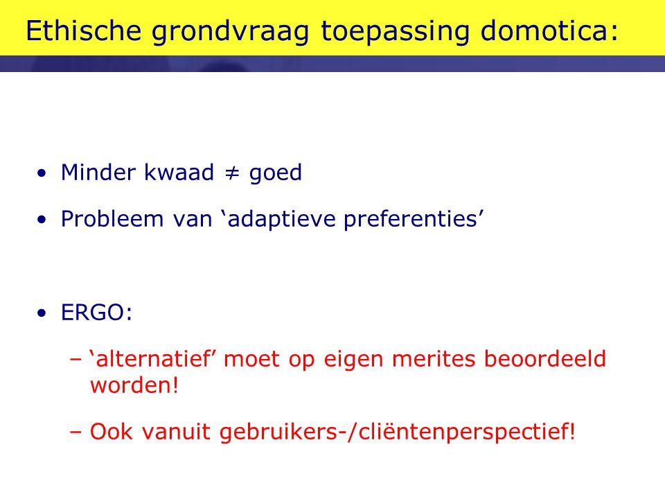 Ethische grondvraag toepassing domotica: