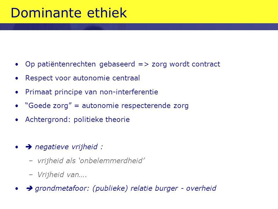 Dominante ethiek Op patiëntenrechten gebaseerd => zorg wordt contract. Respect voor autonomie centraal.