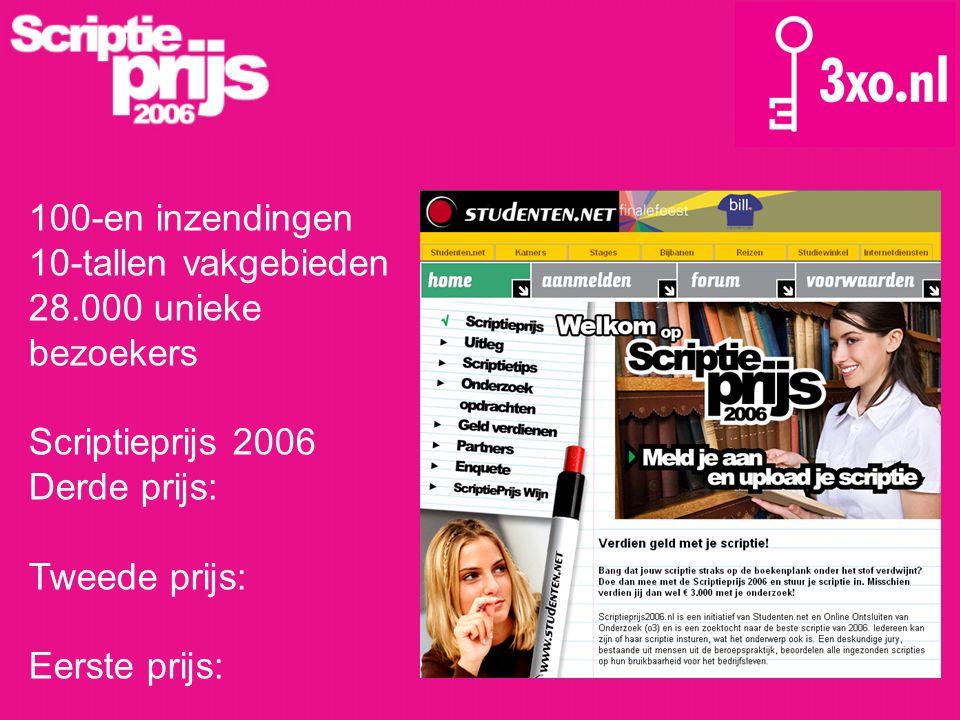 100-en inzendingen 10-tallen vakgebieden. 28.000 unieke bezoekers. Scriptieprijs 2006. Derde prijs: