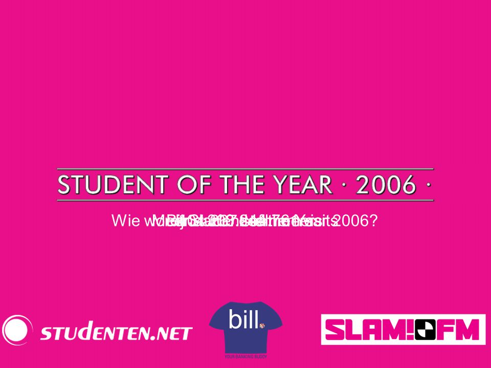 Wie wordt Student of the Year 2006