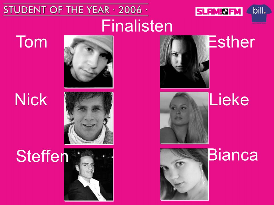 Finalisten Tom Esther Nick Lieke Steffen Bianca