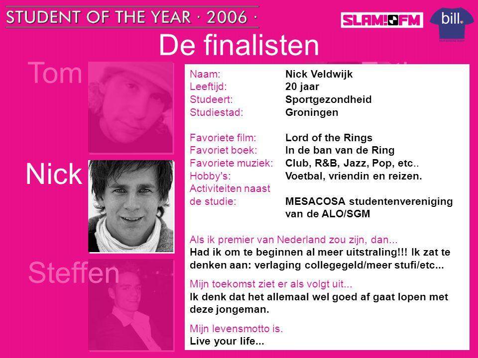 De finalisten Tom Esther Nick Lieke Steffen Bianca Naam: Nick Veldwijk