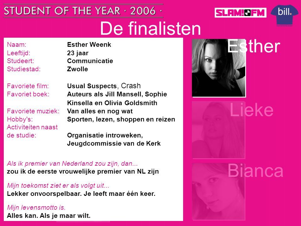De finalisten Tom Esther Nick Lieke Steffen Bianca Naam: Esther Weenk