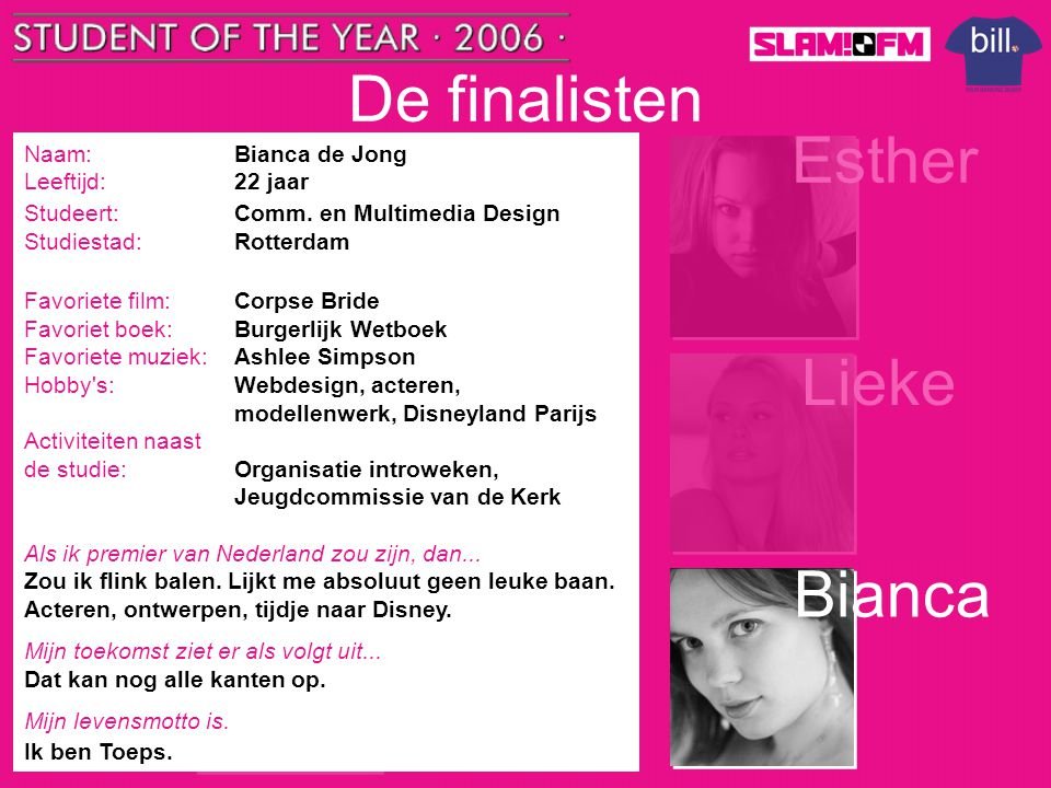 De finalisten Tom Esther Nick Lieke Steffen Bianca