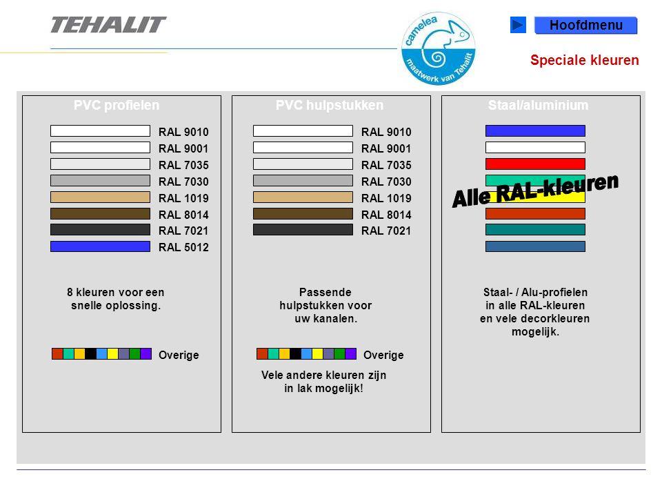 Speciale kleuren Hoofdmenu PVC profielen PVC hulpstukken