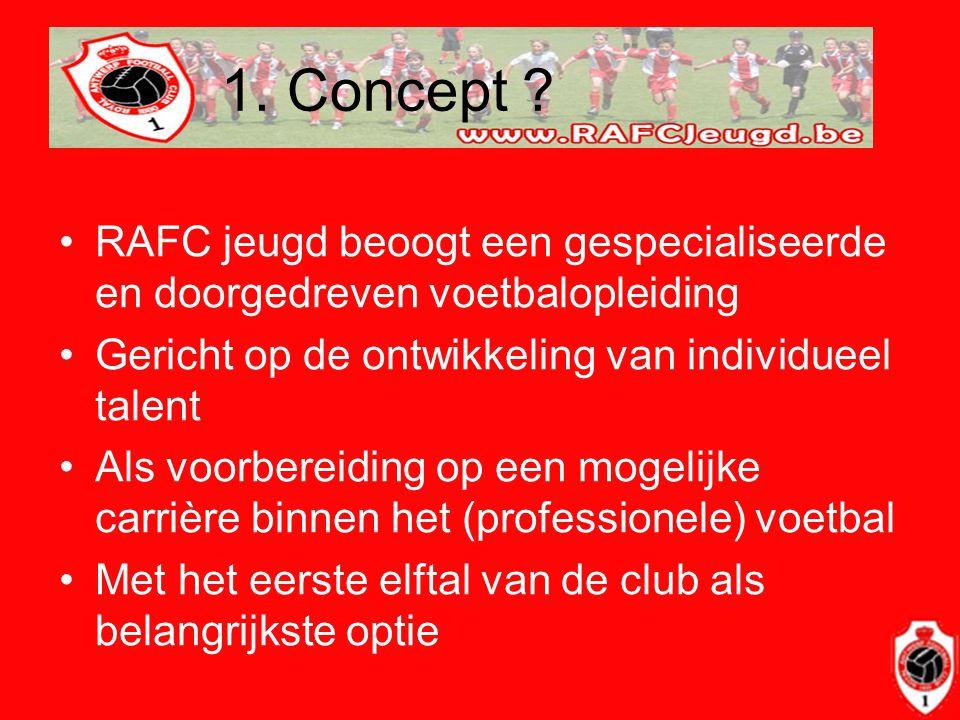 1. Concept RAFC jeugd beoogt een gespecialiseerde en doorgedreven voetbalopleiding. Gericht op de ontwikkeling van individueel talent.