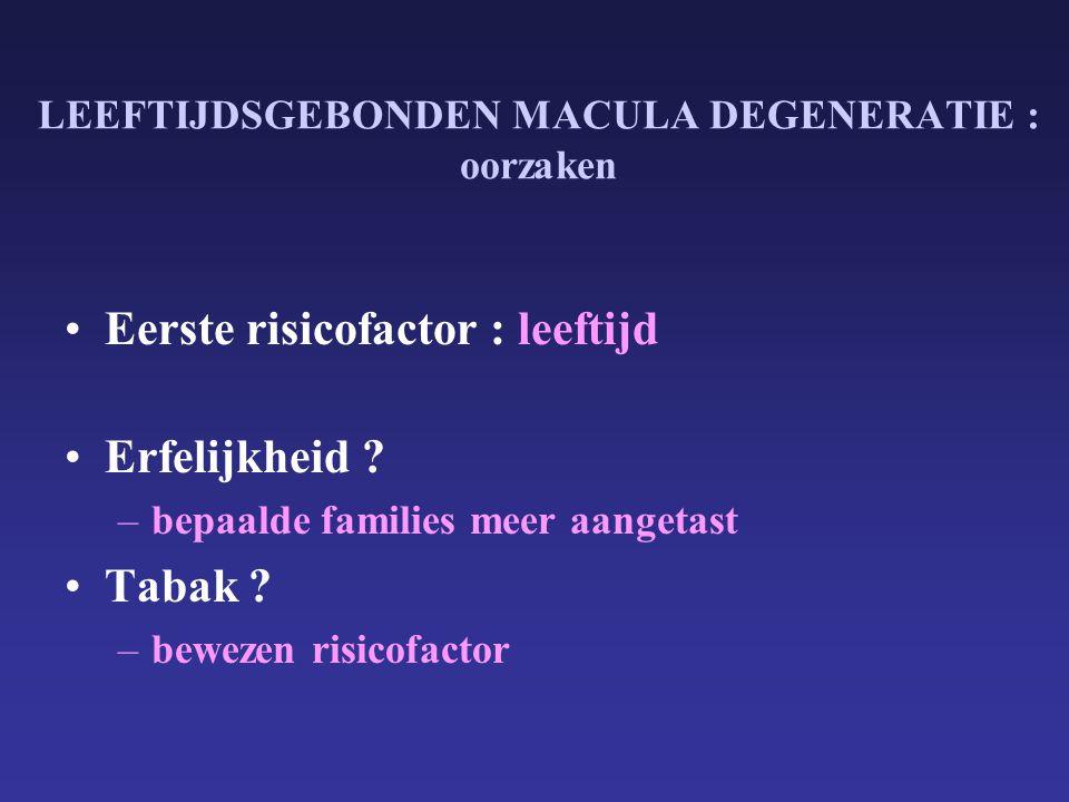 LEEFTIJDSGEBONDEN MACULA DEGENERATIE : oorzaken