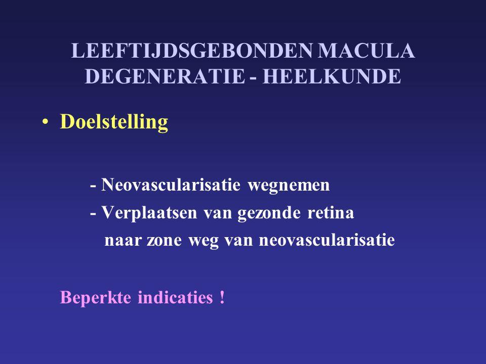 LEEFTIJDSGEBONDEN MACULA DEGENERATIE - HEELKUNDE