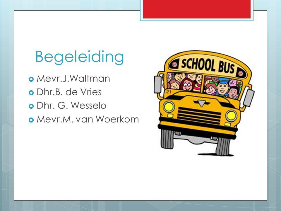 Begeleiding Mevr.J.Waltman Dhr.B. de Vries Dhr. G. Wesselo