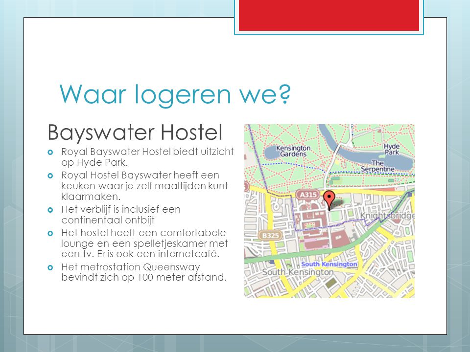 Waar logeren we Bayswater Hostel