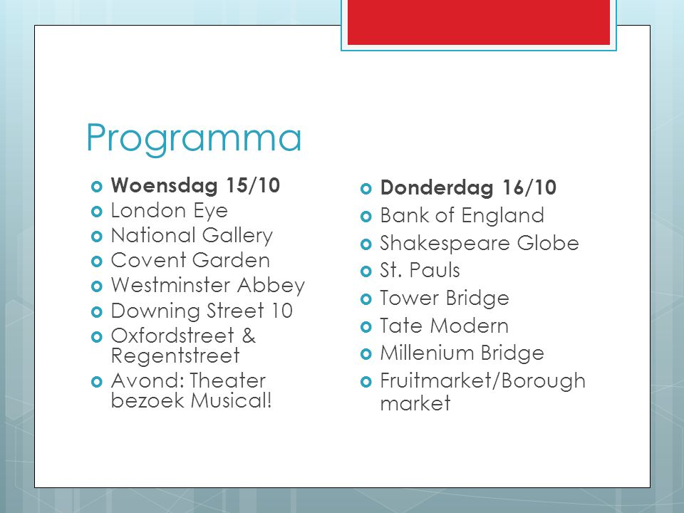 Programma Woensdag 15/10 London Eye National Gallery Covent Garden