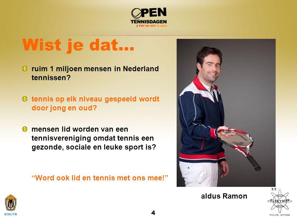 Wist je dat… ruim 1 miljoen mensen in Nederland tennissen