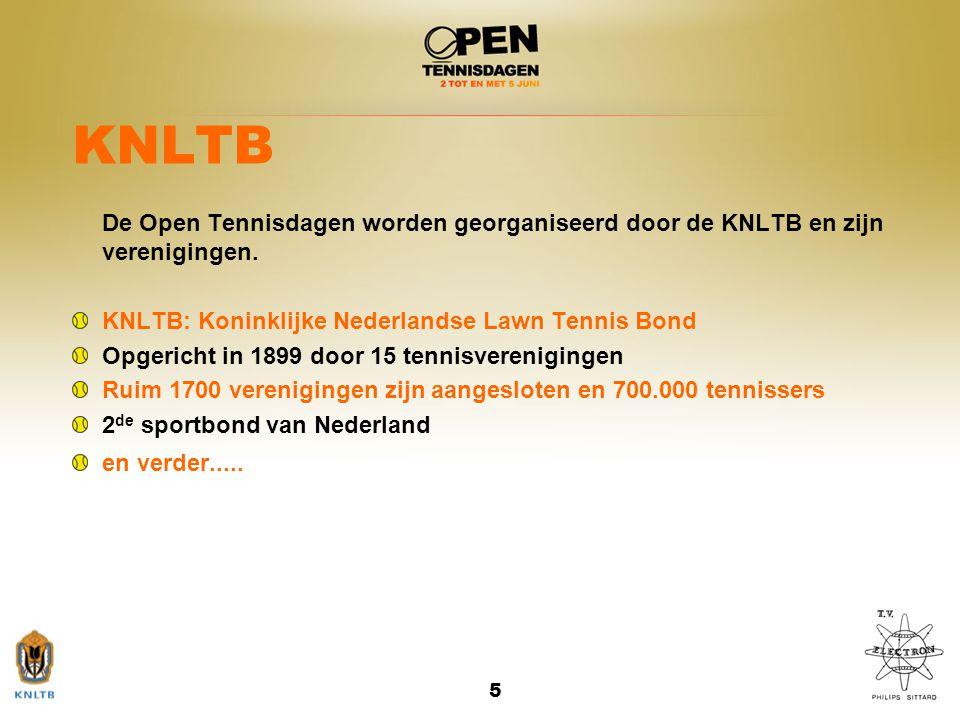KNLTB De Open Tennisdagen worden georganiseerd door de KNLTB en zijn verenigingen. KNLTB: Koninklijke Nederlandse Lawn Tennis Bond.