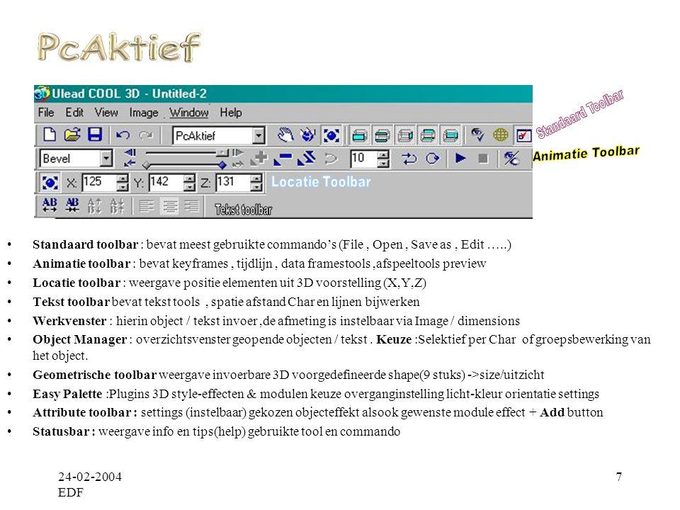 Statusbar : weergave info en tips(help) gebruikte tool en commando