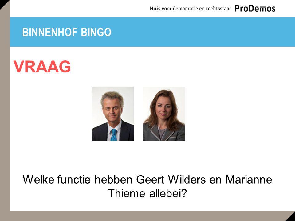 Welke functie hebben Geert Wilders en Marianne Thieme allebei