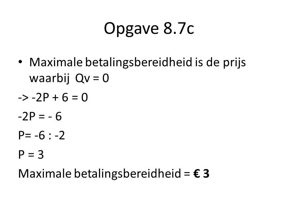 Opgave 8.7c Maximale betalingsbereidheid is de prijs waarbij Qv = 0