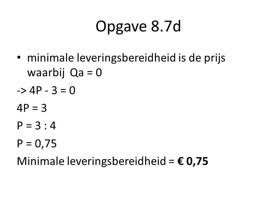 Opgave 8.7d minimale leveringsbereidheid is de prijs waarbij Qa = 0