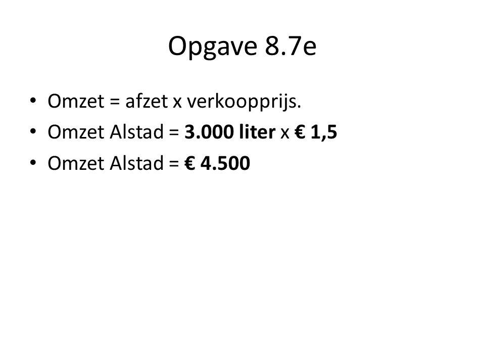 Opgave 8.7e Omzet = afzet x verkoopprijs.
