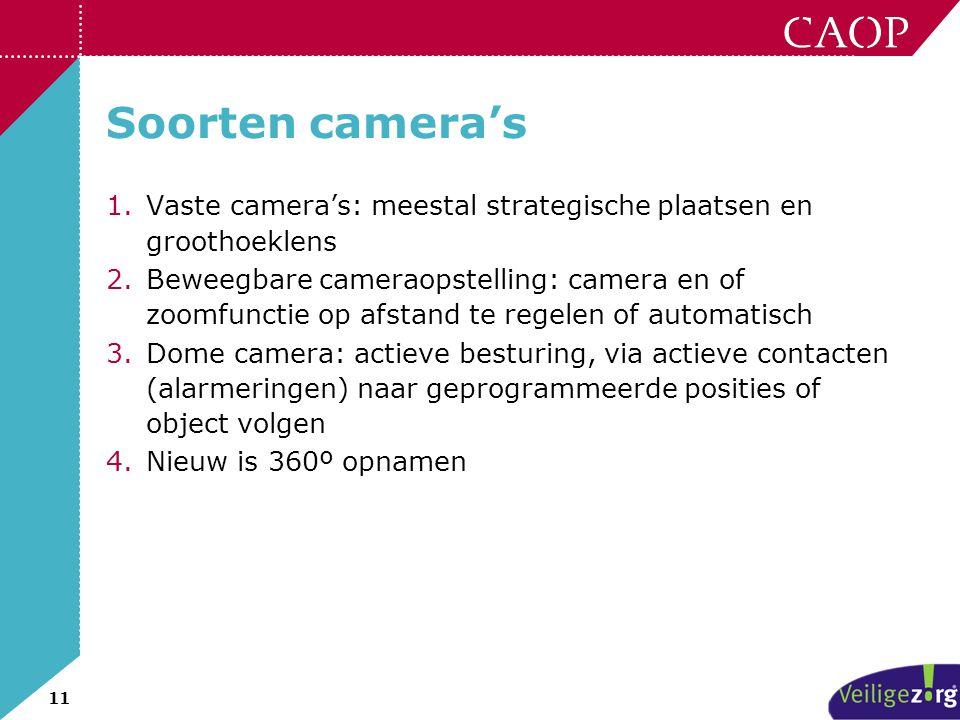 Soorten camera's Vaste camera's: meestal strategische plaatsen en groothoeklens.