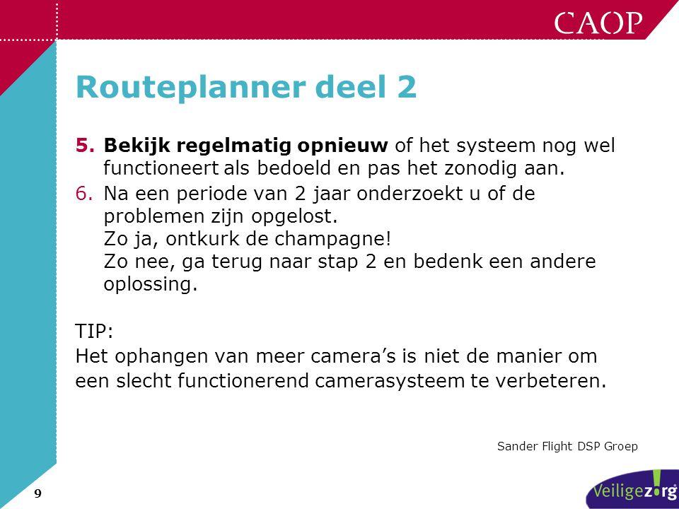 Routeplanner deel 2 Bekijk regelmatig opnieuw of het systeem nog wel functioneert als bedoeld en pas het zonodig aan.